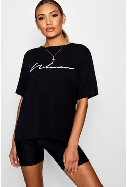 Womens Black Oversized Slogan Woman T Shirt