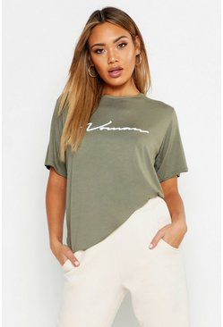 Womens Khaki Oversized Slogan Woman T Shirt