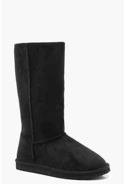 Womens Black Calf High Cosy Shoe Boots