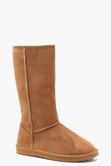 Womens Tan Calf High Cosy Shoe Boots