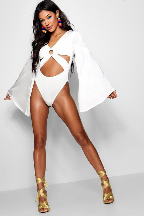 Cut Out Angel Sleeve Bodysuit