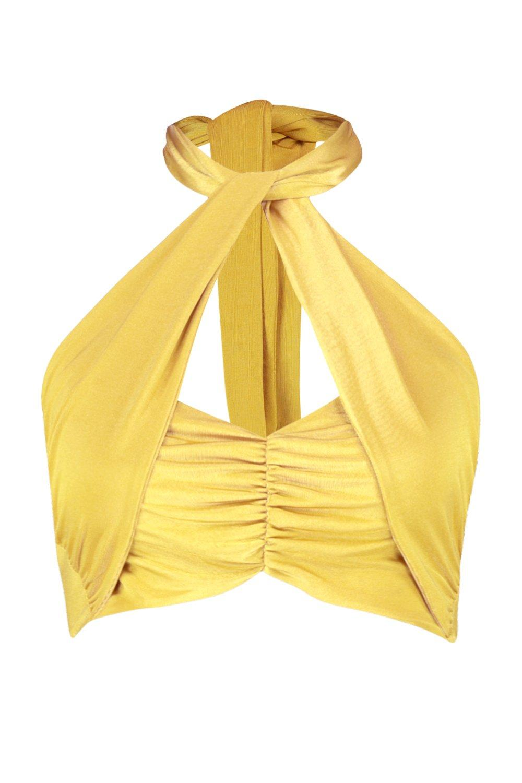 Bandeau cruzado verde corto con cuello de nudo amarillo zTOwz6q