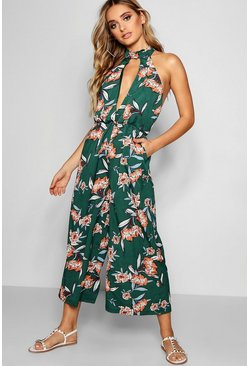 Womens Green Boutique Halterneck Large Floral Culotte Jumpsuit