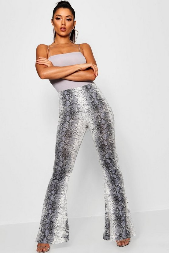 Womens Grey Crepe Snakeskin Print Ultimate Flares