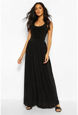 Womens Black Basic Slinky Floor Sweeping Maxi Skirt