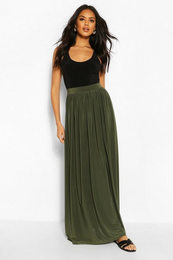 Womens Forest Basic Slinky Floor Sweeping Maxi Skirt