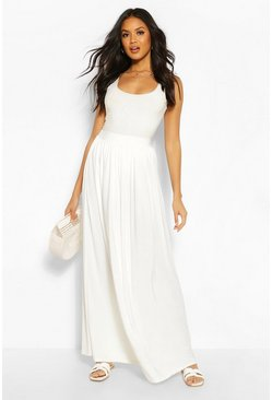 Ivory Basic Slinky Floor Sweeping Maxi Skirt
