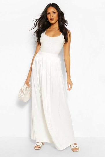 Womens Ivory Basic Slinky Floor Sweeping Maxi Skirt