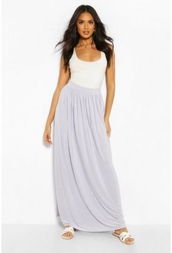 Silver Basic Slinky Floor Sweeping Maxi Skirt