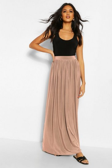 Taupe Basic Slinky Floor Sweeping Maxi Skirt