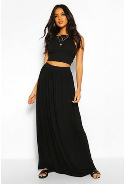 Womens Black Floor Sweeping Jersey Maxi Skirt