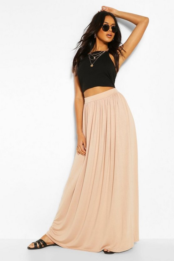 Floor Sweeping Jersey Maxi Skirt