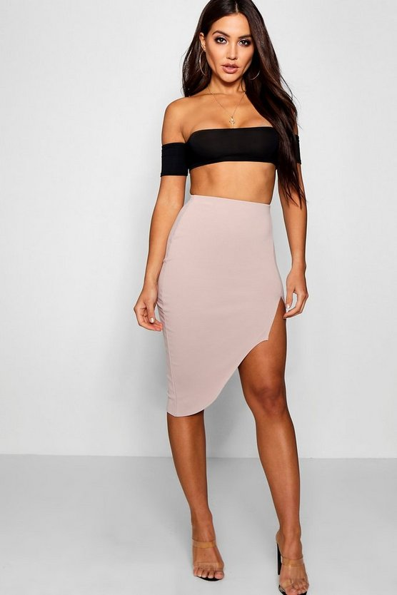 Split Front Asymetric Midi Skirt