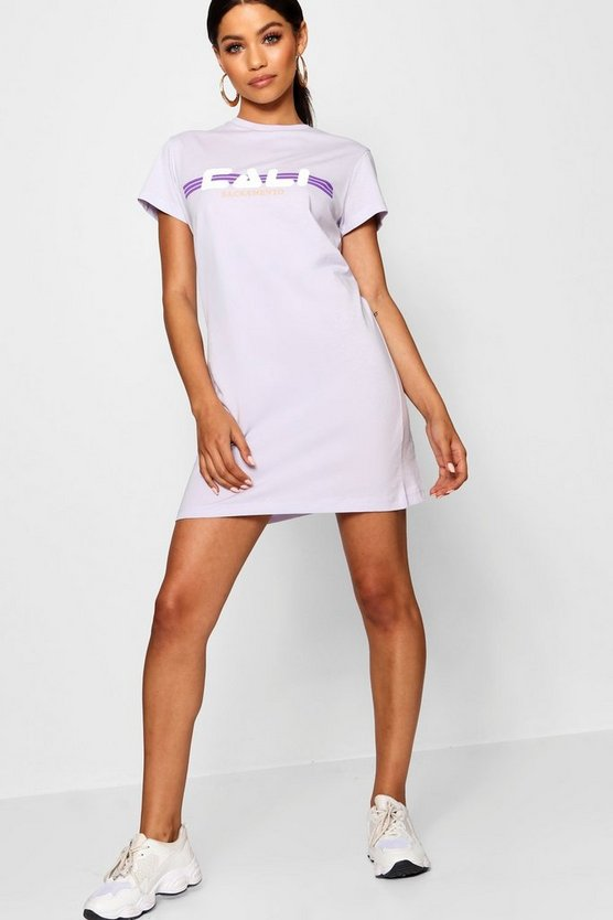 Womens Lilac Cali Print T-Shirt Dress