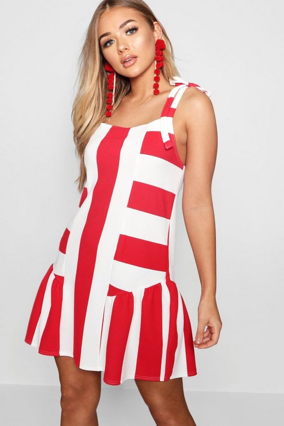 Womens Red Tie Strap Frill Detail Stripe Shift Dress