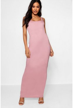 Womens Mauve Square Neck Basic Jersey Maxi Dress