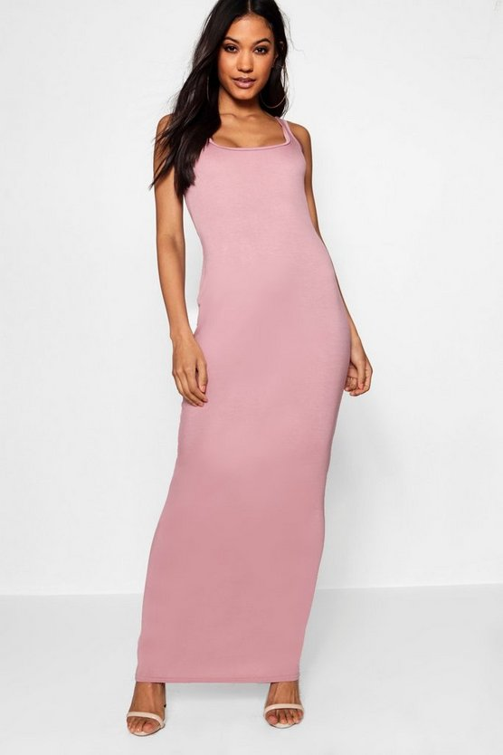 Square Neck Basic Jersey Maxi Dress