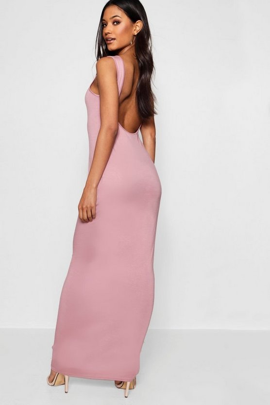 Scoop Back Basic Jersey Maxi Dress