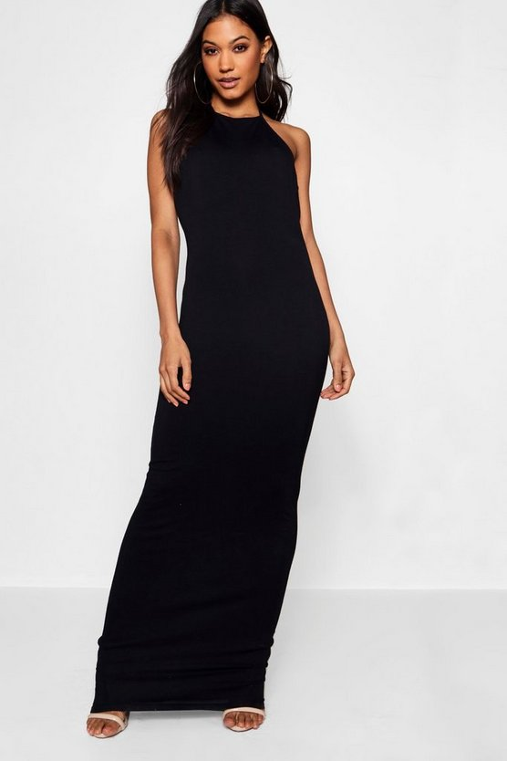 90's Neck Basic Jersey Maxi Dress