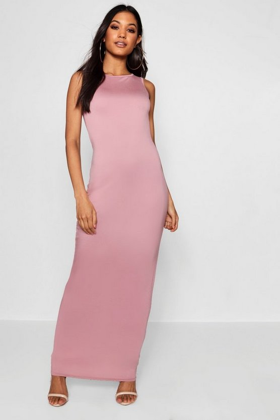 Racer Front Basic Jersey Maxi Dress