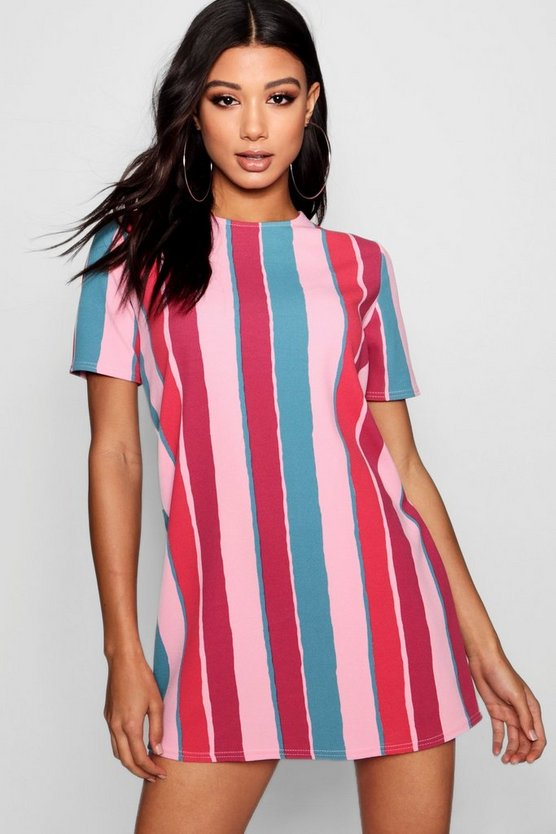 Candy Stripe Short Sleeve Shift Dress