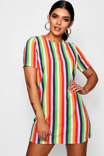 Womens Leaf green Rainbow Stripe Short Sleeve Shift Dress