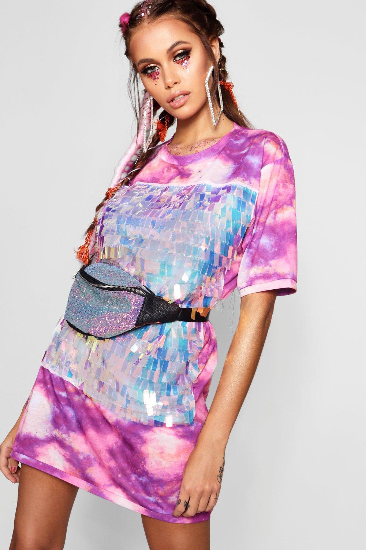 34d13c69d52 Tie Dye Sequin Front T-Shirt Dress