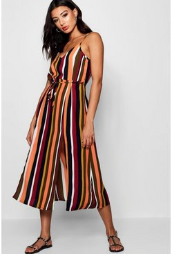 Womens Tangerine Split Front Striped Midaxi Dress