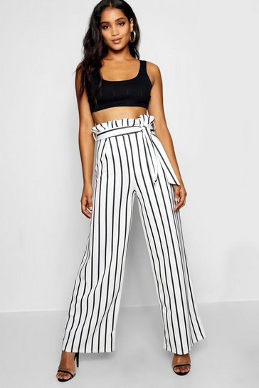 Womens White Paperbag Waist Wide Leg Trousers