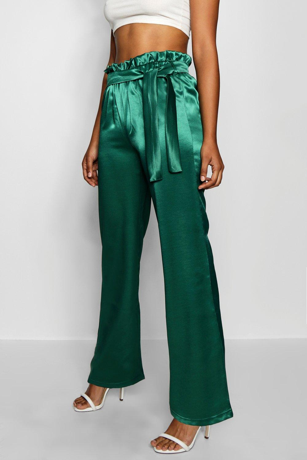 green Trouser High Leg Satin Waist Wide wXqaXO64