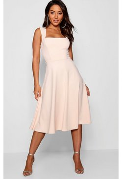 Robe patineuse midi à col carré, Blush