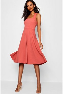 Rose Square Neck Midi Skater Dress