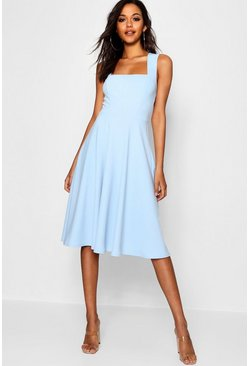 Womens Sky Square Neck Midi Skater Dress