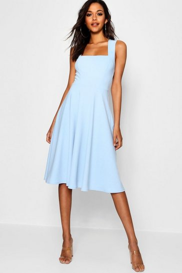 Sky Square Neck Midi Skater Dress
