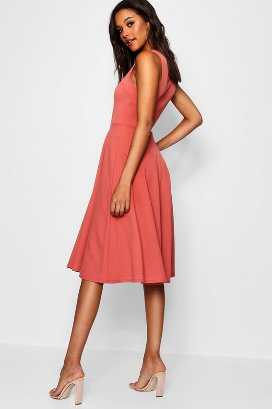 Square Neck Midi Skater Dress