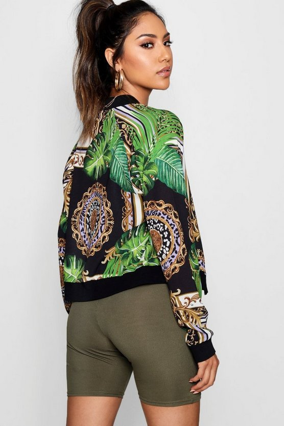 Palm Chain Print Bomber, Black, MUJER