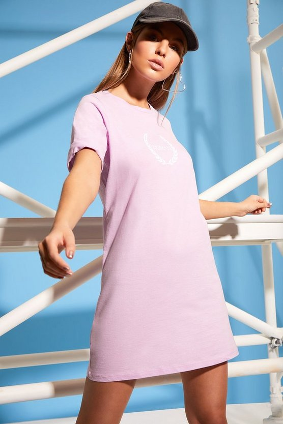 Woman Printed T-Shirt Dress, Lilac, FEMMES