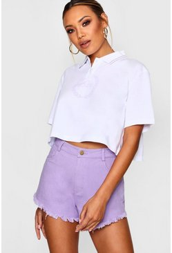 Womens White Woman Print Polo Crop