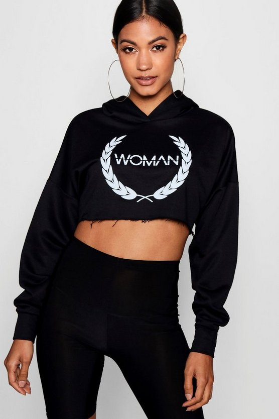 Woman Slogan Print Cropped Hoody