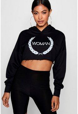Womens Black Woman Slogan Print Cropped Hoody