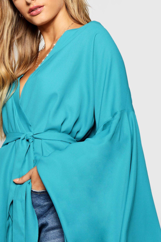 jade Blouse Wrap blue Kimono Sleeve Tie Extreme pqCBRxw8an