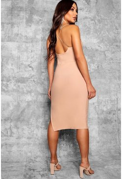 Womens Stone Strappy Cross Back Thigh Split Midi Dress