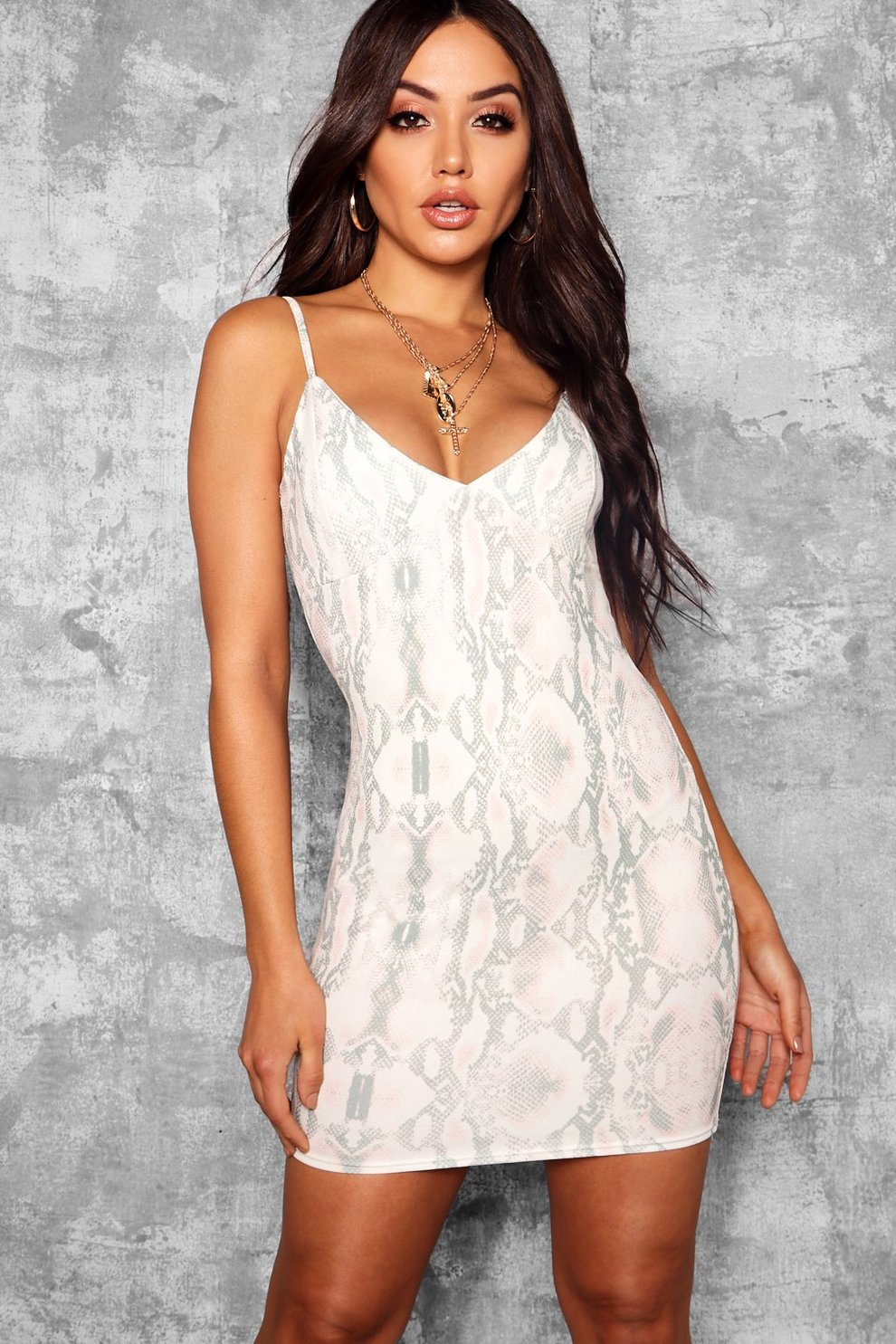 a9875a5fdab8 Womens Ivory Snake Print Strappy Plunge Bodycon. Hover to zoom