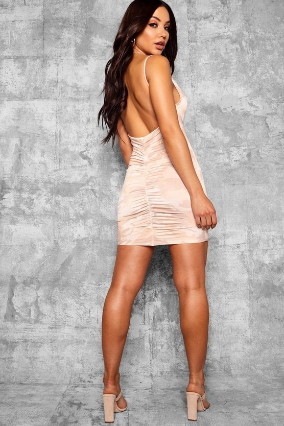 Camo Scoop Back Ruched Bodycon Dress
