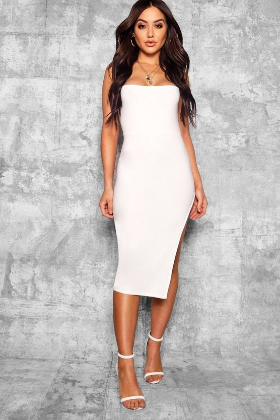 Strappy Square Neck Thigh Split Midi Dress, Ivory, Donna