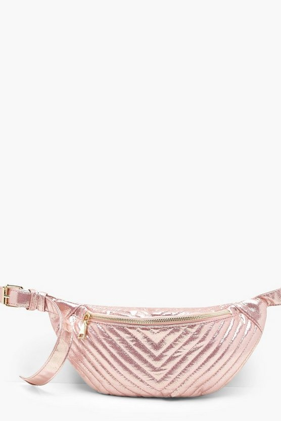 Metallic Chevron Quilted Bumbag