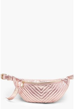Womens Rose gold Metallic Chevron Quilted Bumbag