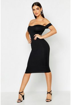 Womens Black Off Shoulder Curved Neckline Midi Dress