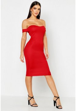 Womens Red Off Shoulder Curved Neckline Midi Dress