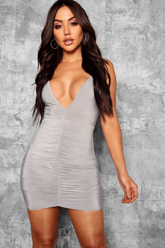 Plunge Front Slinky Rouched Bodycon Dress